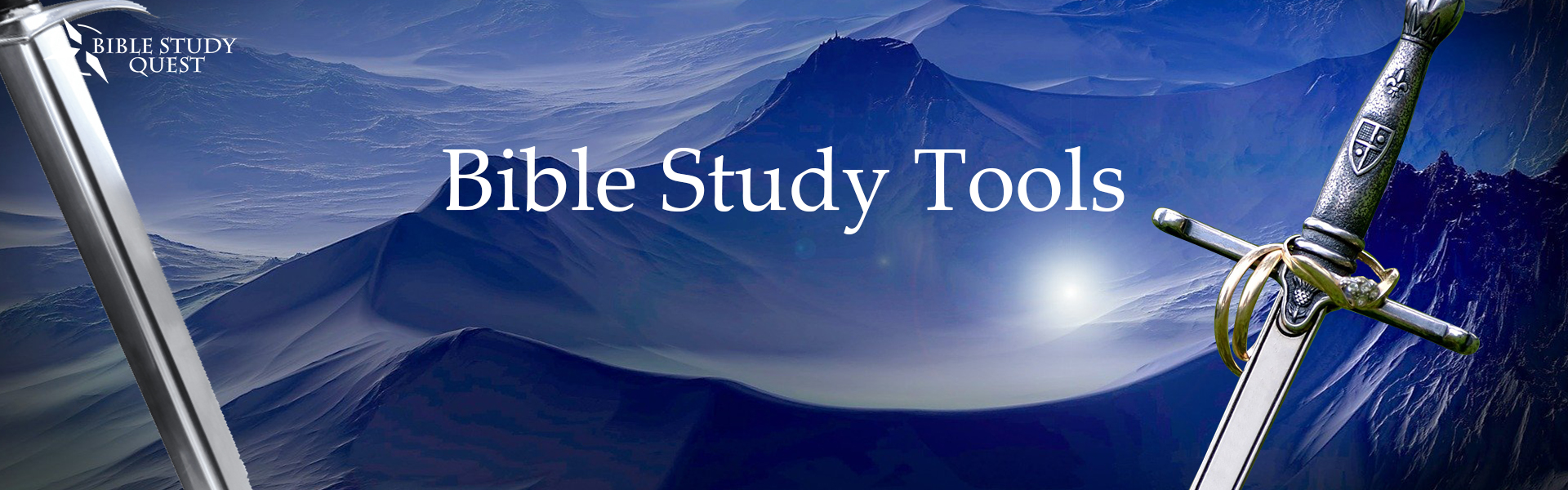 Bible Study Tools with sword and blue mountain valleys